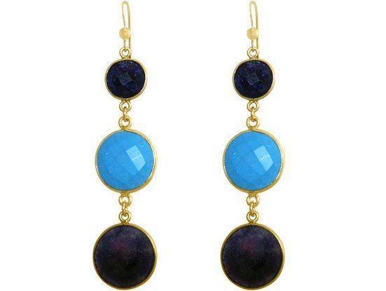 Gemshine Paar Ohrhänger »Türkis Saphir Midnight Blue« Made in Germany