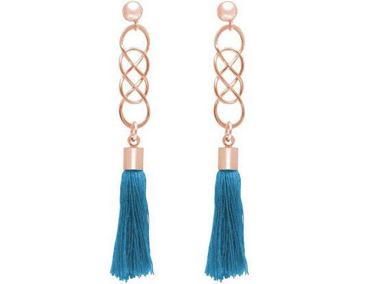 Gemshine Paar Ohrhänger »Infinity Quasten Deep Blue«, Made in Germany