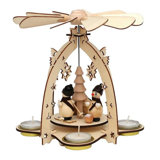 SIGRO Holz Teelichtpyramide »Schneemannfamilie Motiv 1«