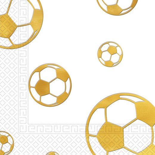 Procos Servietten zweilagig Fußball Gold 33 x 33 cm, 15 Stück