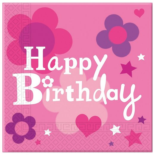 Procos Servietten zweilagig Happy Birthday Girl 33 x 33 cm, 20 Stüc