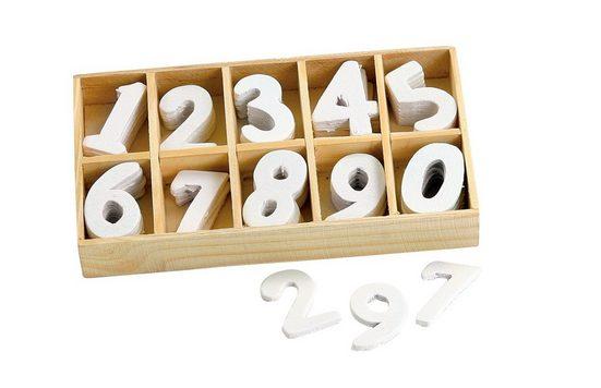 Holz-Zahlen. 60 Stück in Box