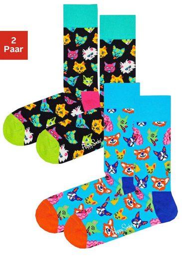 Happy Socks Socken »Dogs & Cats« (2-Paar) mit knalligen Hunde- und Katzenmotiven