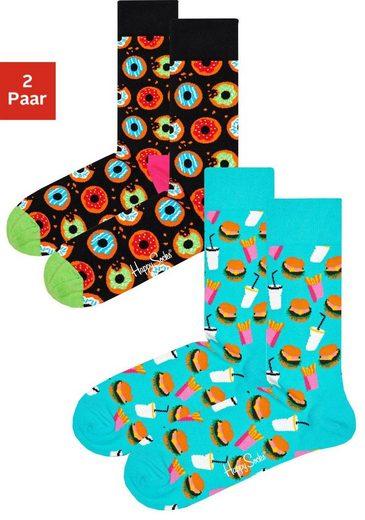 Happy Socks Socken (2-Paar), mit knalligen Fastfood-Motiven
