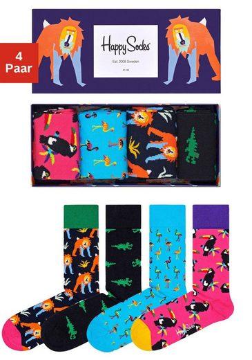 Happy Socks Socken (Box, 4-Paar) mit knalligen Tiermotiven