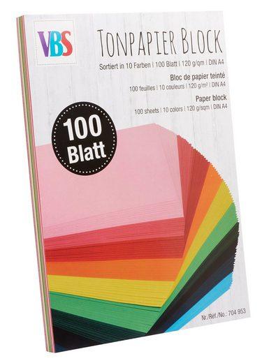"""VBS Tonpapier-Block """"DIN A4"""" farbig sortiert 100 Blatt"""