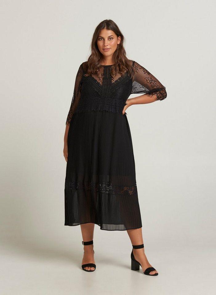ZAY Plisseekleid Damen Große Größen Kleid Plissee 3/4 Arm ...