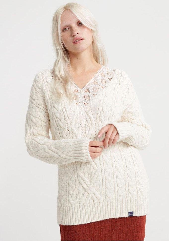 Superdry Strickpullover »LANNAH LACE VEE CABLE KNIT« mit durchgehendem Zopfmuster online kaufen | OTTO