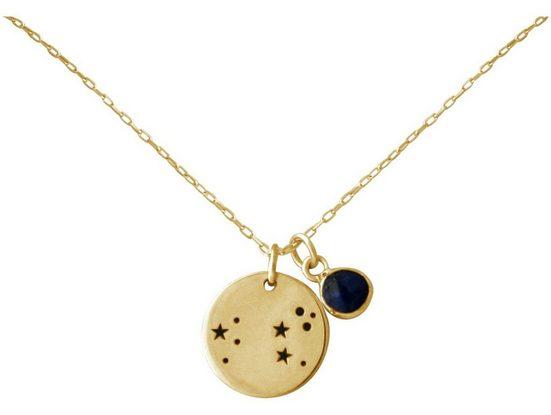 Gemshine Kette mit Anhänger »Sternzeichen Leo Löwe mit blauem Saphir« Made in Spain
