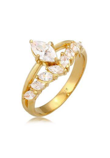 Elli Fingerring »Zirkonia Marquise 925 Silber«
