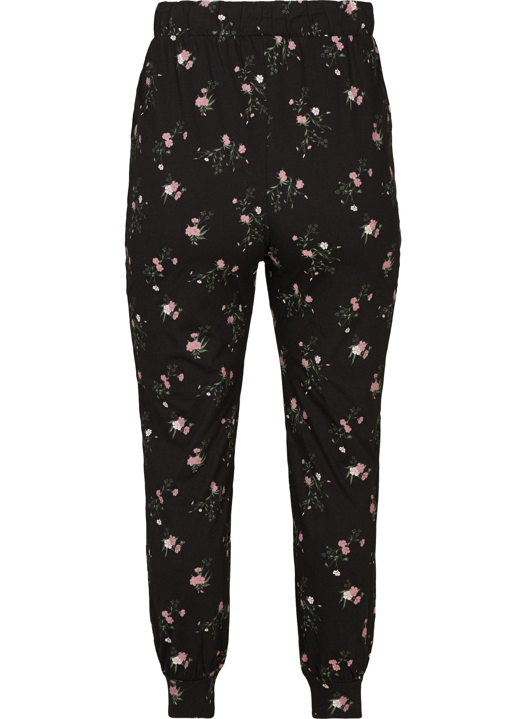 Zizzi Stoffhose Damen Große Größen Hose Tapered Fit Print Schlafanzughose