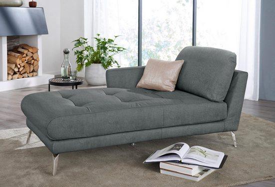 W.SCHILLIG Chaiselongue »softy«, mit dekorativer Heftung im Sitz, Füße Chrom glänzend