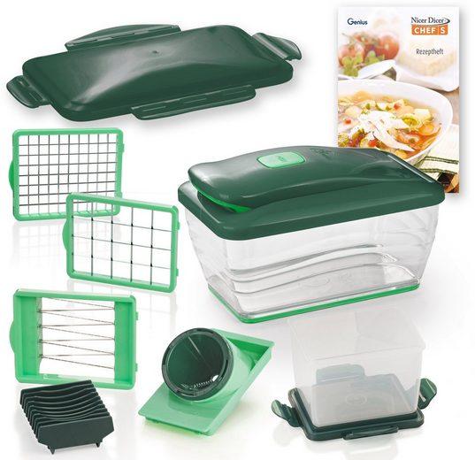 Genius Zerkleinerer Nicer Dicer Chef S Deluxe Set, 13-teilig, 2100 ml mit Auffangbehälter aus Kunststoff