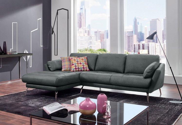 W.SCHILLIG Ecksofa »softy«, mit dekorativer Heftung im Sitz, Füße Chrom glänzend