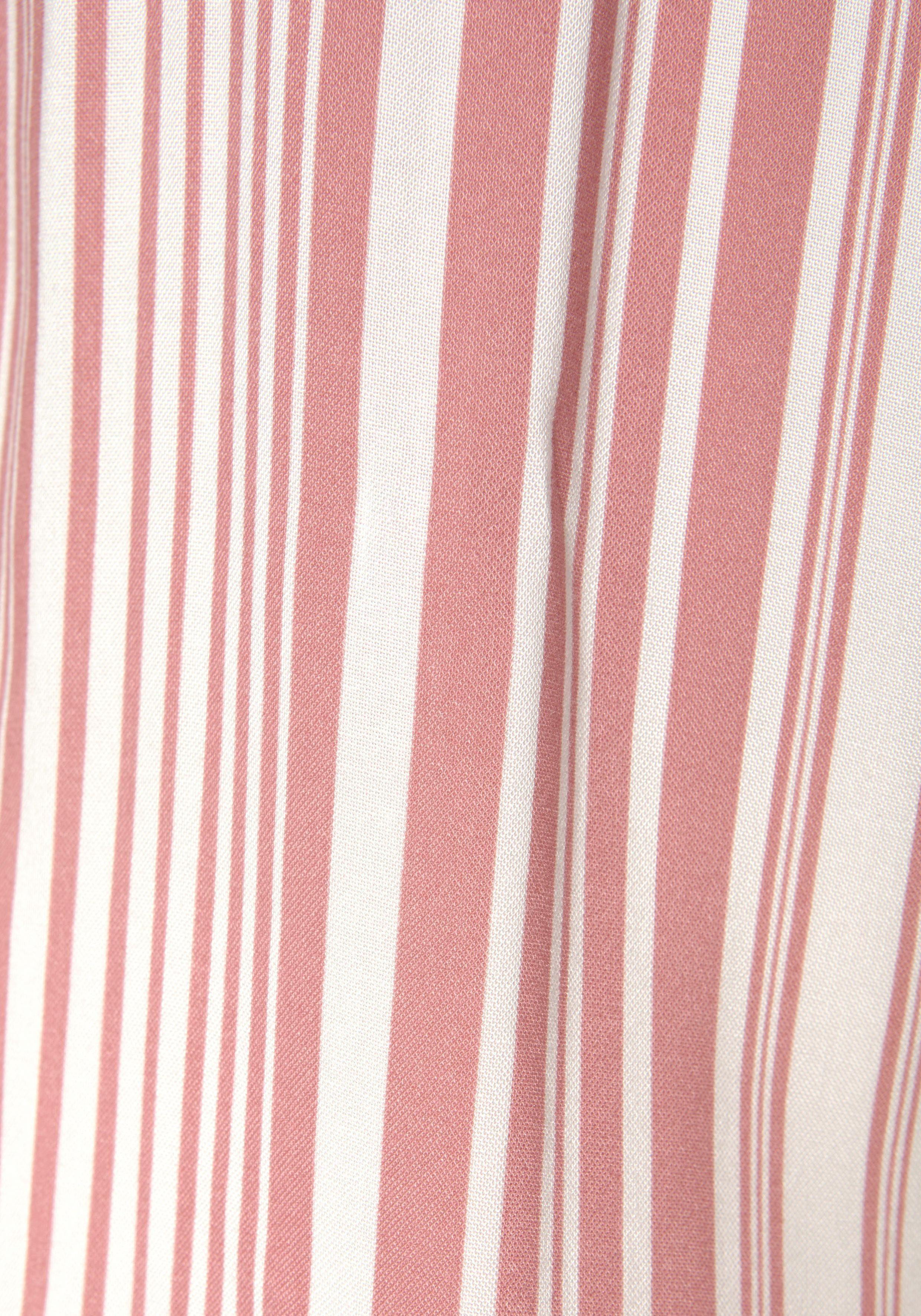 LASCANA Carmenbluse mit Streifenprint, 3/4-lange Ärmel mit Volant