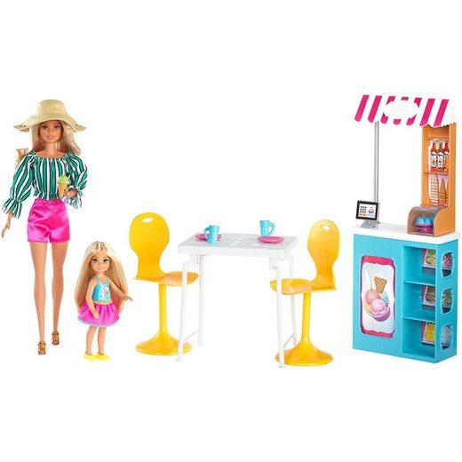 Mattel® Barbie Eiscafé Spielset mit Barbie und Chelsea Puppe und Zub