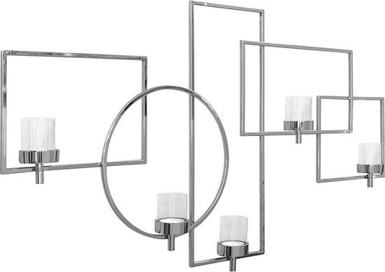 Fink Wanddekoobjekt »ESCALA, silberfarben« (1 Stück), Wandleuchter, Wandkerzenhalter, Wanddeko, handgefertigt, aus Metall, mit 5 Teelichthalter, Wohnzimmer