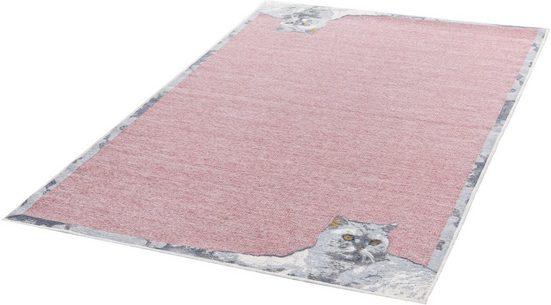 Orientteppich »Flomi Cata«, THEKO, rechteckig, Höhe 4 mm, mit schönem Katzenmotiv