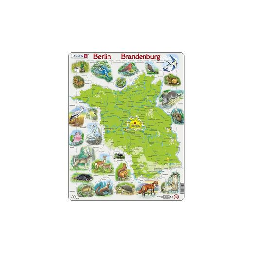 Larsen Rahmen-Puzzle, 62 Teile, 36x28 cm, Karte Berlin / Brandenbur