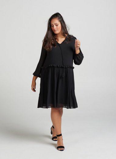 ZAY Plisseekleid Damen Kleid 3/4 Arm Knielang Elegant Rüschen mit Plissee Große Größen