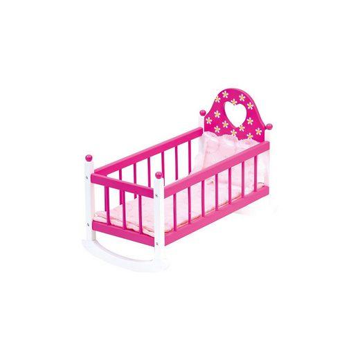 BINO Puppenwiege rosa mit Bettwäsche, 3tlg.