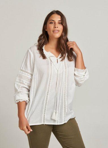 ZAY Langarmbluse Damen Große Größen Bluse Elegant Baumwolle Kurzarm Binden Shirt