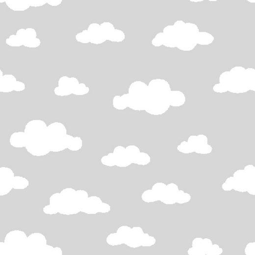 """Jersey-Stoff """"Wolken Grau-Weiß"""" 150 cm breit (Meterware)"""