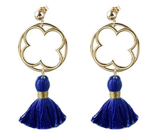 Gemshine Paar Ohrhänger »Mandala Kleeblatt Quasten«, Made in Spain