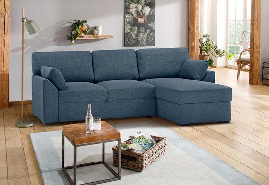 Premium collection by Home affaire Ecksofa »Garda«, Recamierenabschluß mit Bettfunktion/Bettkasten