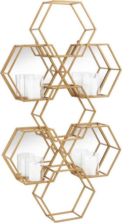 Leonique Wandkerzenhalter »Hexagon, goldfarben«, Wanddeko, aus Metall, bestehend aus sechseckigen Elementen, mit 4 Kerzenhaltern