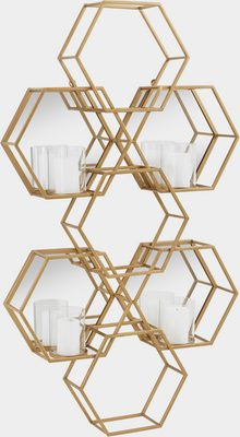 Wandkerzenhalter »Hexagon«, Wanddeko, aus Metall, bestehend aus sechseckigen Elementen, mit 4 Kerzenhaltern