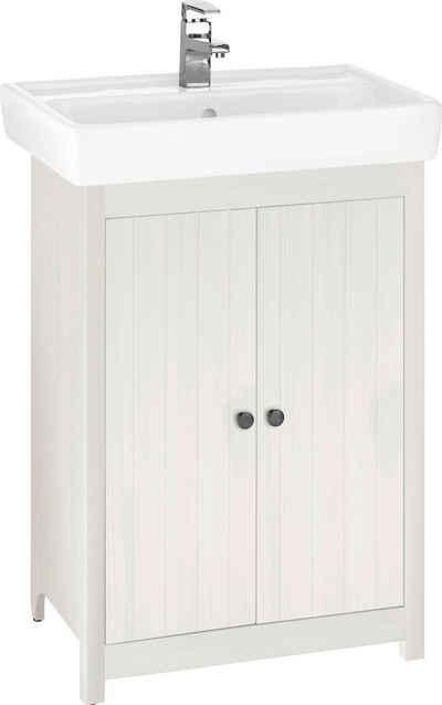 Home affaire Waschtisch »Westa«, Breite 60 cm, Badezimmerschrank aus Massivholz, Kiefernholz, Metallgriffe, 2 Türen, mit Waschbecken