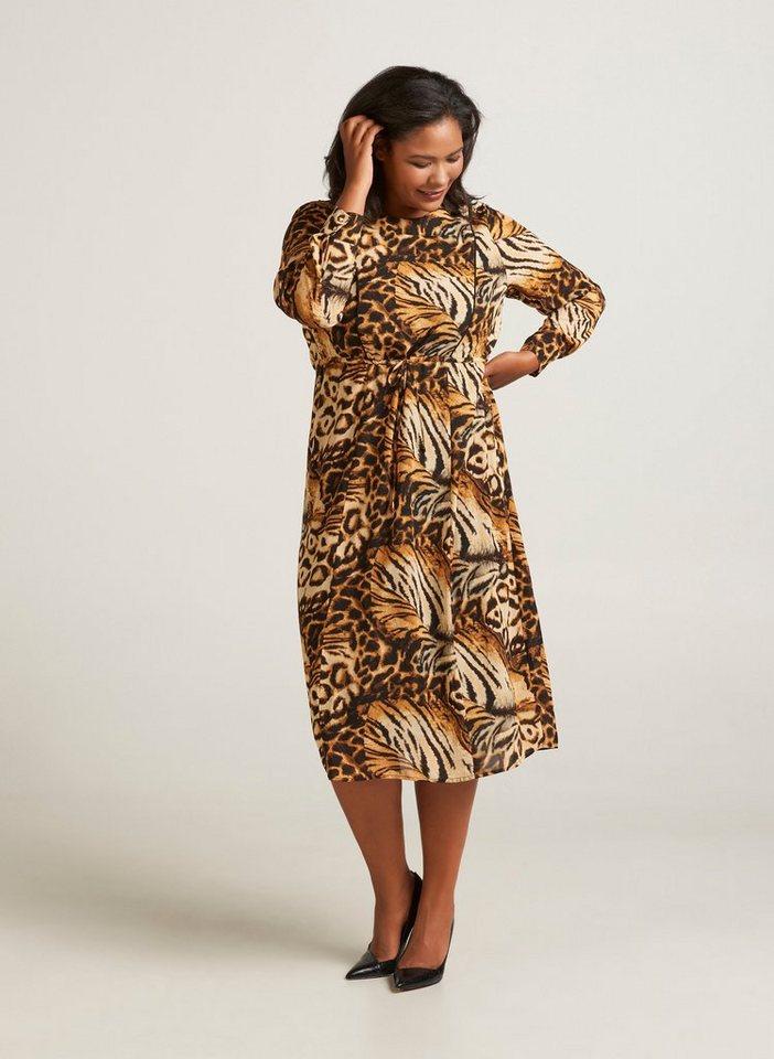Festtagsmode - Zizzi Abendkleid Damen Große Größen Kleid Animalprint Langarm Leo ›  - Onlineshop OTTO