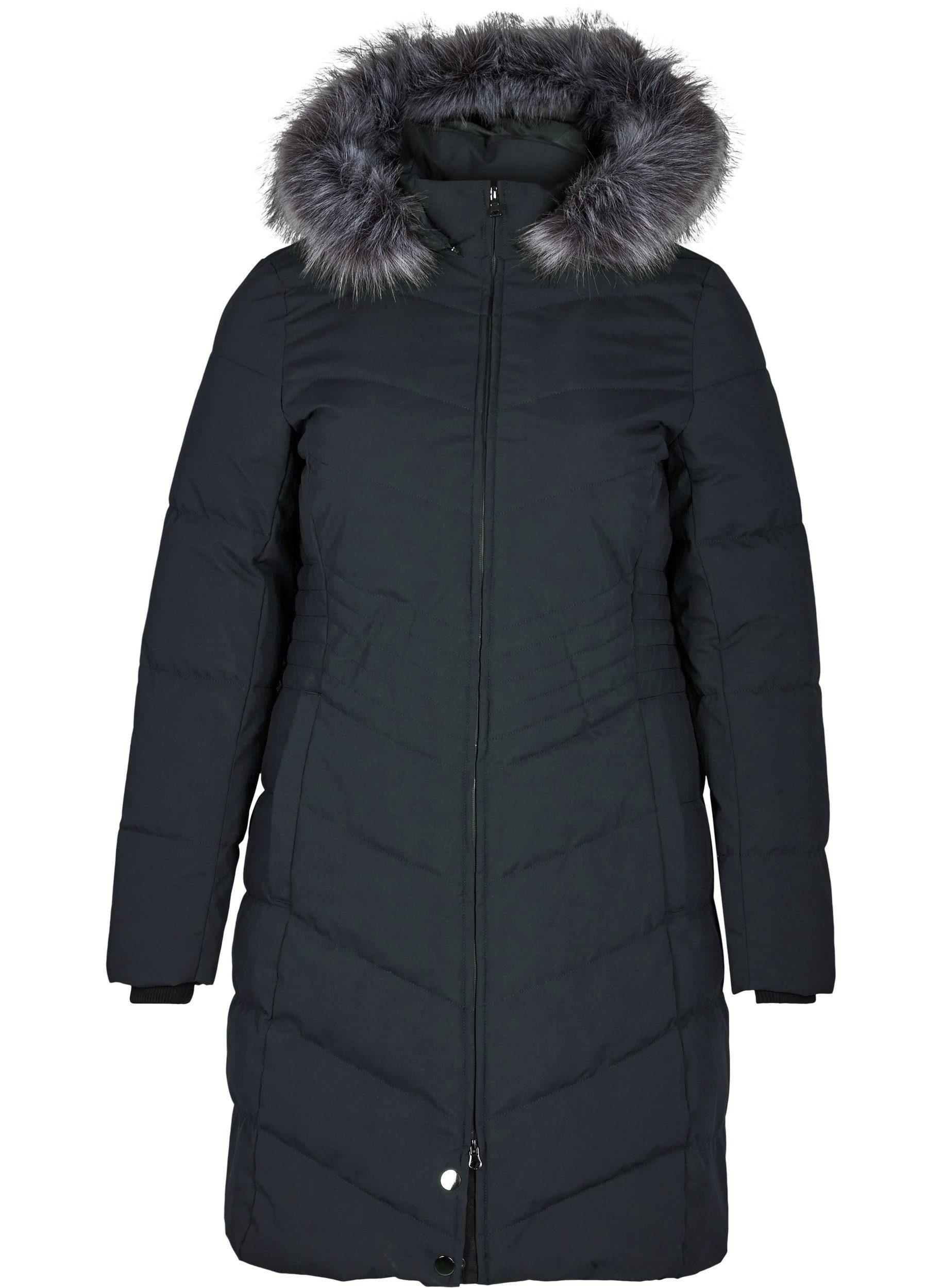 Zizzi Winterjacke Zizzi Damen Große Größen Warm Faux Kunstfellkragen Jacke, Feminine Passform online kaufen | OTTO