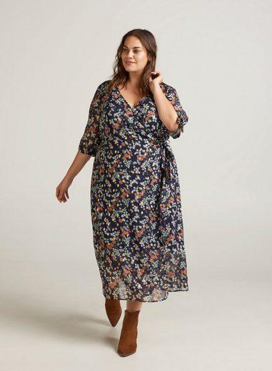Zizzi Wickelkleid Damen Große Größen Kleid Blumenprint 3/4 Arm Wrap Maxikleid