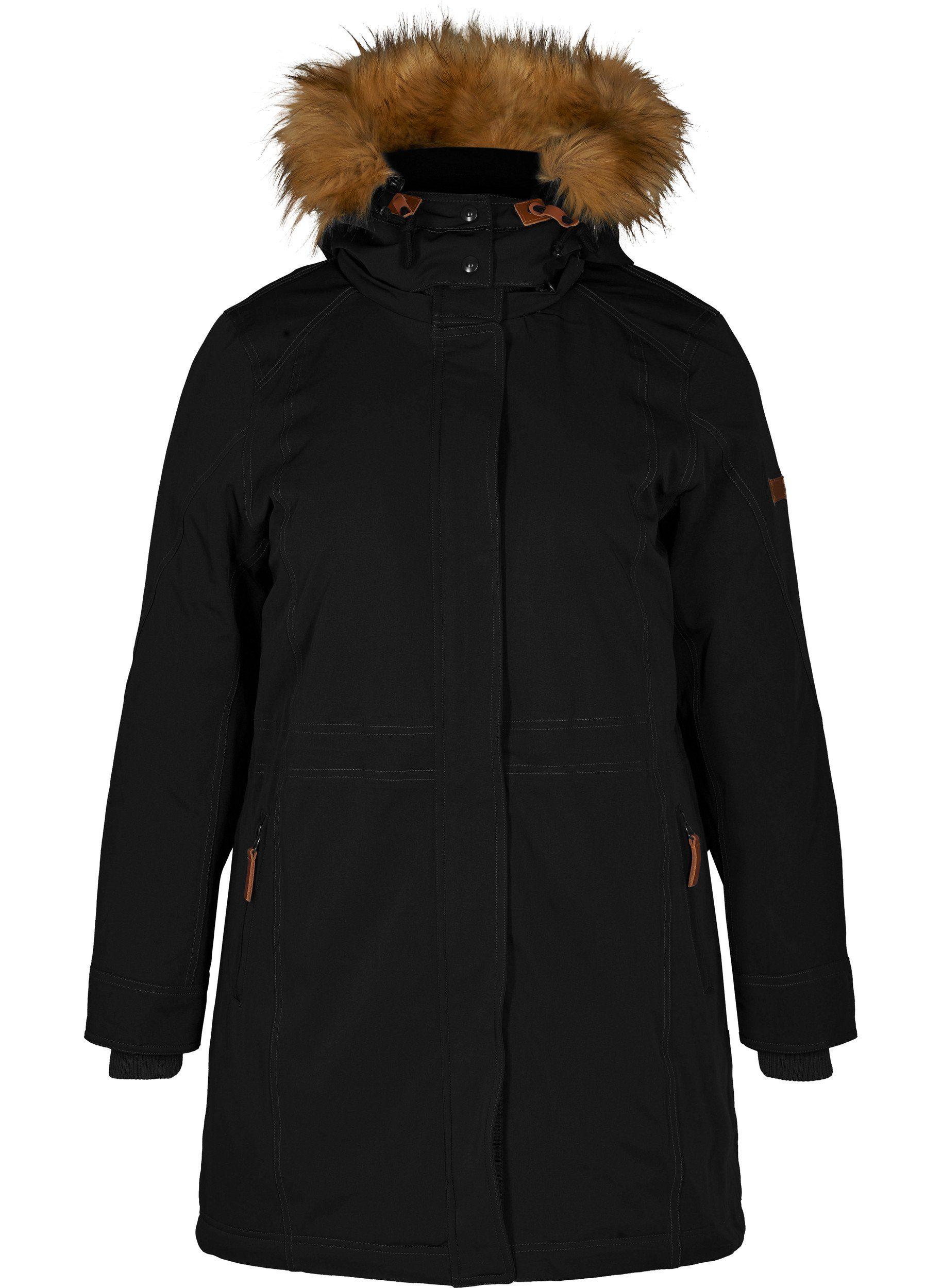 Zizzi Winterjacke Damen Große Größen Warm Kunstfellkragen Jacke, Einstellbare Taille und Saum online kaufen | OTTO