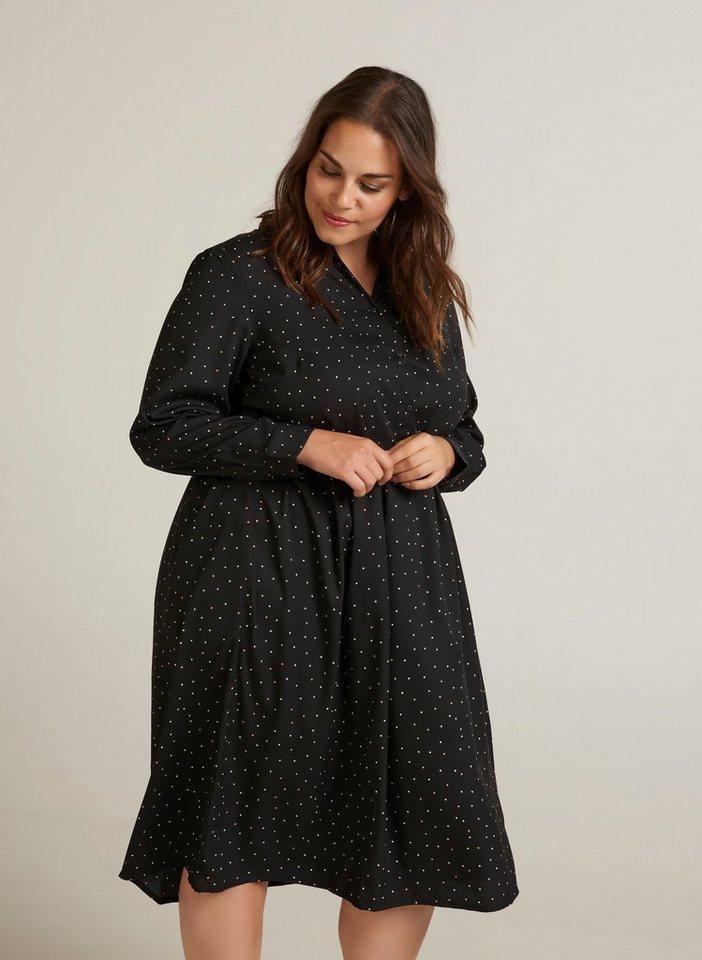 the latest a316b ef09a Zizzi Hemdblusenkleid Damen Große Größen Kleid Elegant Kragen Langarm  Midikleid online kaufen | OTTO