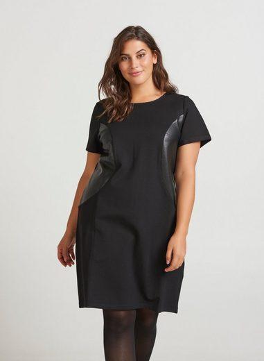 Zizzi Abendkleid Damen Große Größen Kleid Elegant Kurzarm Kunstleder