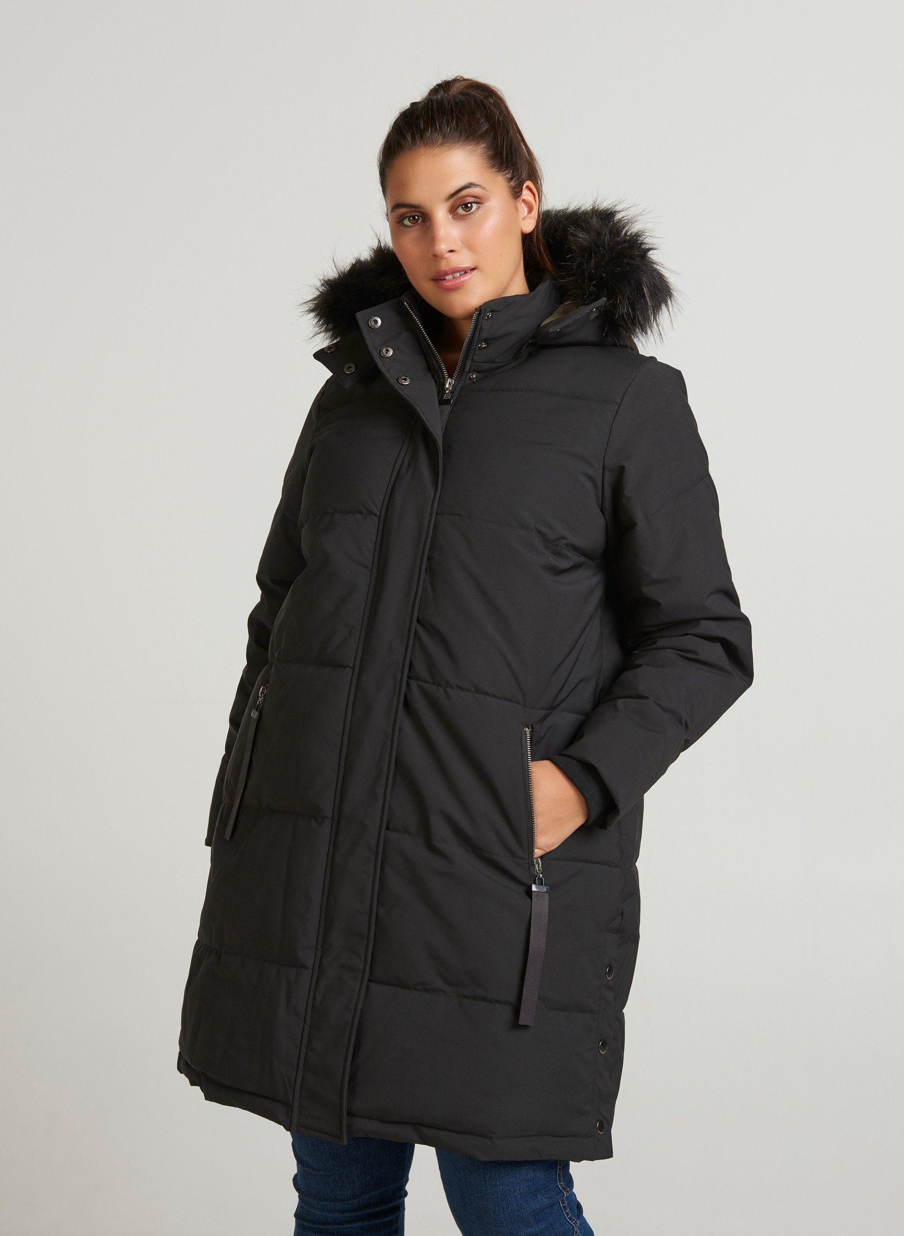 Zizzi Winterjacke Damen Große Größen Wintermantel Parka Kunstfellkapuze Jacke, 2 Wege Reißverschluss online kaufen | OTTO