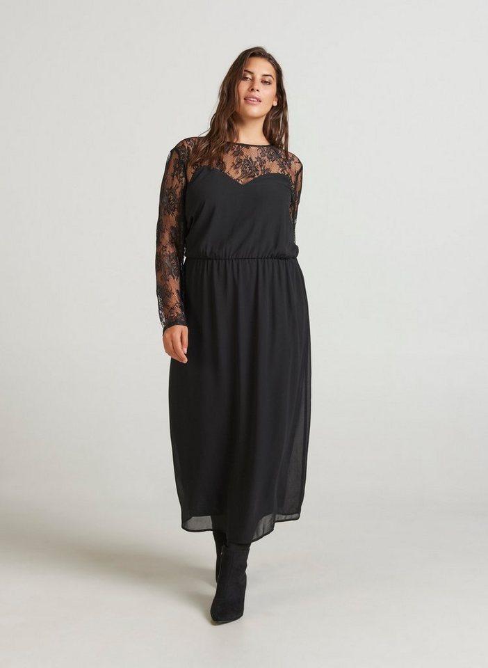 Festtagsmode - Zizzi Spitzenkleid Damen Große Größen Kleid Langarm Elegant Spitze Abendkleid ›  - Onlineshop OTTO
