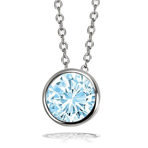 goldmaid Collier Halskette 925 Sterlingsilber Ankerkette 1 Zirkonia blau