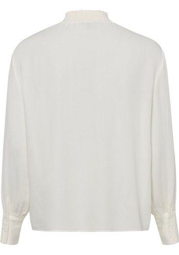 Esprit Collection Blusenshirt mit gesmoktem Stehkragen