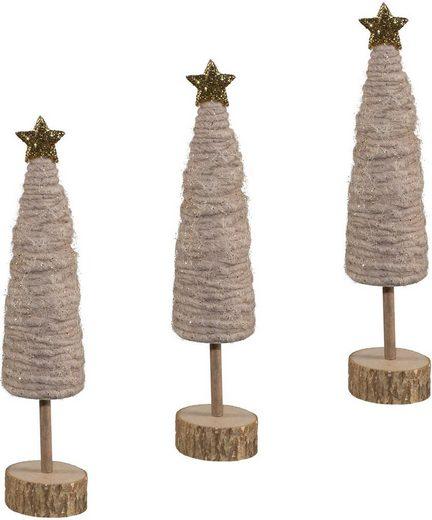 Dekobaum (Set, 3 Stück), aus Holz und Wolle, Höhe je ca. 25 cm
