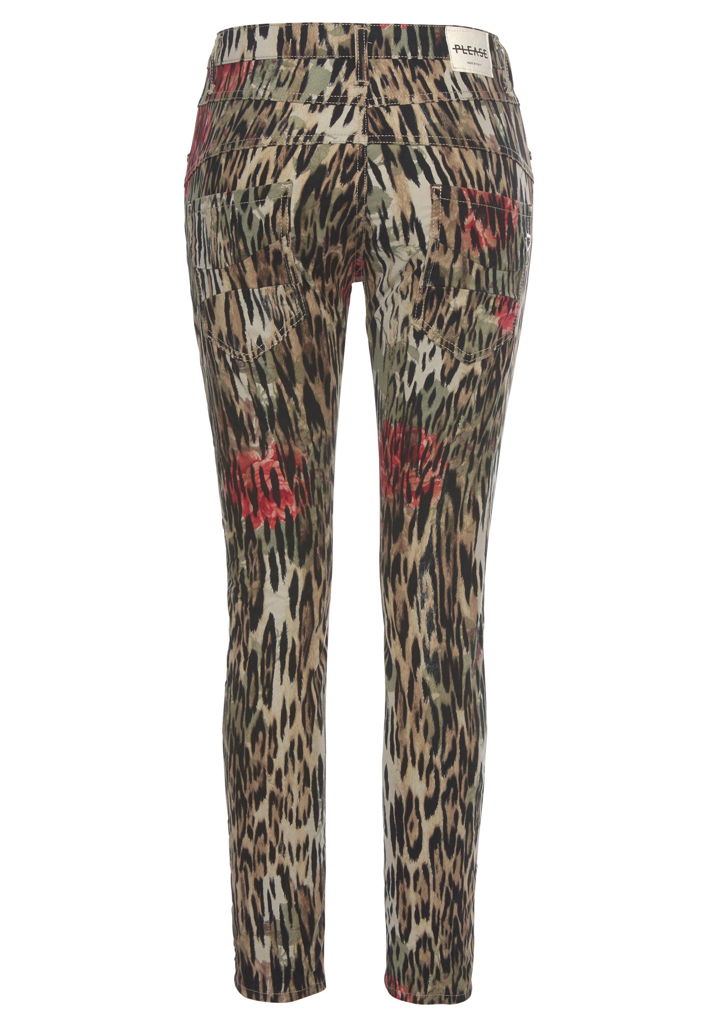Please Jeans Boyfriend-Hose P78A Mit Allover-Leo-Flower Druck online kaufen tR6ISk