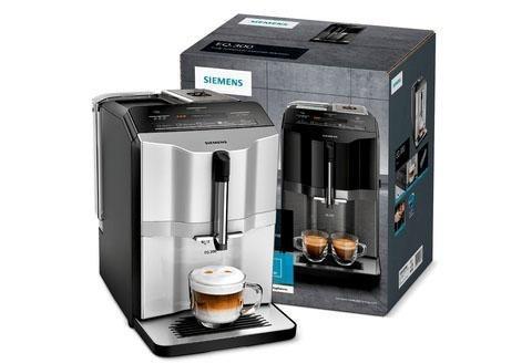 SIEMENS Kaffeevollautomat EQ.300 TI353501DE, einfache Zubereitung mit oneTouch Funktion, 5 Kaffee-Milch-Getränke, LCD-Dialog-Display silber