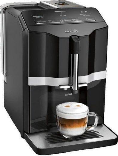 SIEMENS Kaffeevollautomat EQ.300 TI351509DE, einfache Zubereitung mit oneTouch Funktion, 5 Kaffee-Milch-Getränke, schwarz