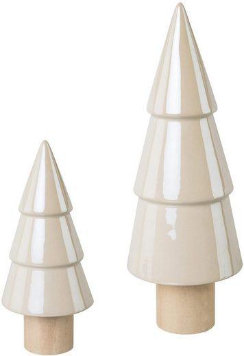 Dekobaum (Set, 2 Stück), glänzende Keramik, kombiniert mit Holzfuß, Höhe 20 / 30cm