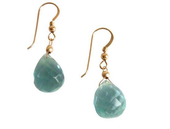 Gemshine Paar Ohrhänger »Aquamarin Quarz Tropfen«, Manufaktur mit Edelsteinen