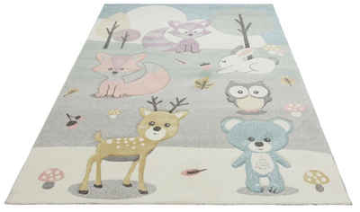 Kinderteppich »Wald«, Lüttenhütt, rechteckig, Höhe 13 mm, Motiv Tiere, Pastellfarben, handgearbeiteter Konturenschnitt