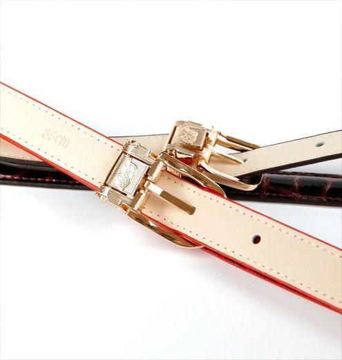 Anthoni Crown Ledergürtel in schmaler Form aus Lackleder  Ton in Ton Steppung